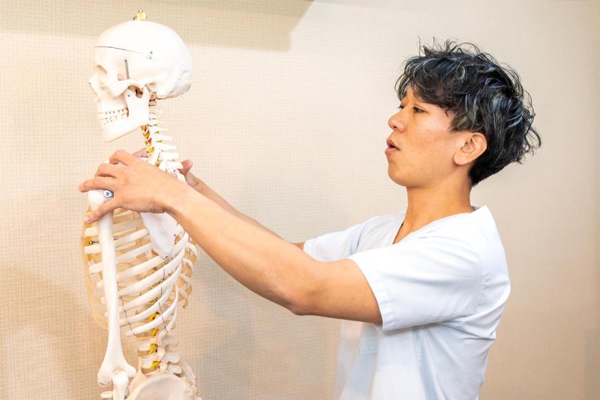 院長が骨模型を使って、肩こりについて説明している